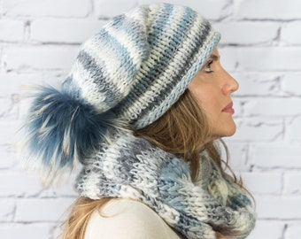Winter chunky knit hat with pom pom and infinity scarf for women | Hand knitted wool beanie and loop scarf Winter knitted accessories women