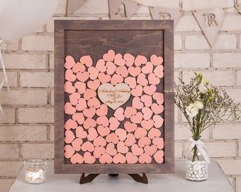 Custom Wedding Guest Book Alternative Wood Wedding Drop Box Heart Wedding Guestbook Alternative Drop Top Rustic Wedding guest book Blush