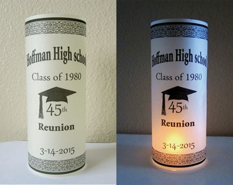 12 Personalized High School Reunion Centerpiece Table Party Decoration Luminaries