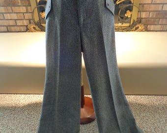 Vintage 70s Wool High Waisted Bell Bottom Trousers Slacks Pants