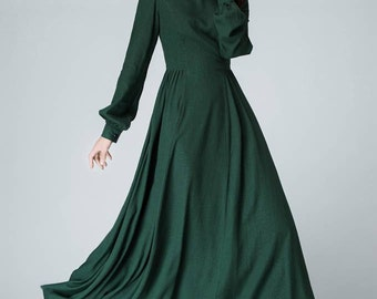 Linen dress, woman dress, dark green dress, long sleeve dress, long dress, linen green dress, bishop sleeve dress, dress for woman 1454