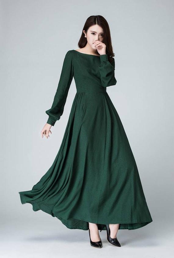 Vaak Donker groene jurk vrouw jurk linnen jurk lange mouwen MV64