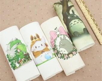 New 8 pcs/lot15x15cm Cotton canvas Cartoon Totoro fabric telas Patchwork tissu for sewing bag Cushions DIY Handmade Cloth
