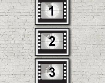 Movie Poster Set Movie Print Set Movie Wall Art Film Reel Countdown Cinema Poster Film Poster Film Print Movie Art (No 1,2,3)