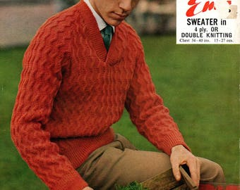 Men's vintage sweater PDF knitting pattern
