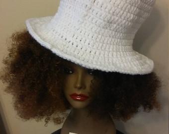 Crochet White Top Hat