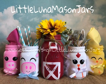 Old McDonald barn and farm animal themed mason jar set, includes 1 quart and 4 pint animal jars, birthday party centerpiece, nursery decor