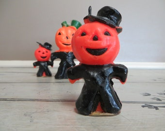 RESERVED Small Gurley Jack O Lantern Halloween Candle Novelty Candle Pumpkin Candle Vintage Halloween Collectible Gurley Candles Vintage