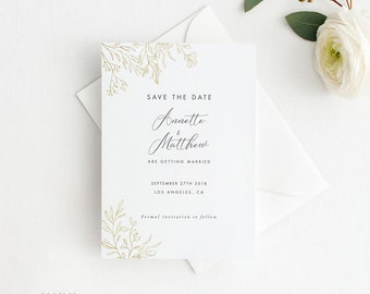 Modern Gold Dust Floral Watercolor Save the Date Printable, Printable Save the Date, Wedding Invites, Letter or A4 Size (Item code: P1085)