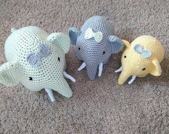 Nursery decor, crochet nursery  decor, crochet elephant in 3 sizes, crochet toys, gift for babies