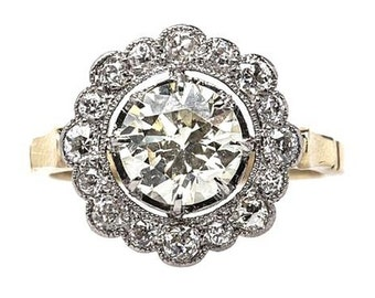 Edwardian Engagement Ring 'Trianon' Diamond Art Deco Engagement RING custom ring conflict free diamonds Moissanite Engagement Ring Diamond