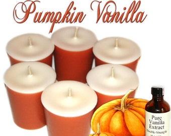 6 Pumpkin Vanilla Votive Candles Creamy Bakery Scent