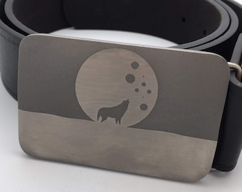 Wolf belt buckle titanium buckle moon belt metal belt buckle silver buckle gift for men Father's Day gift personal gift for him werewolf