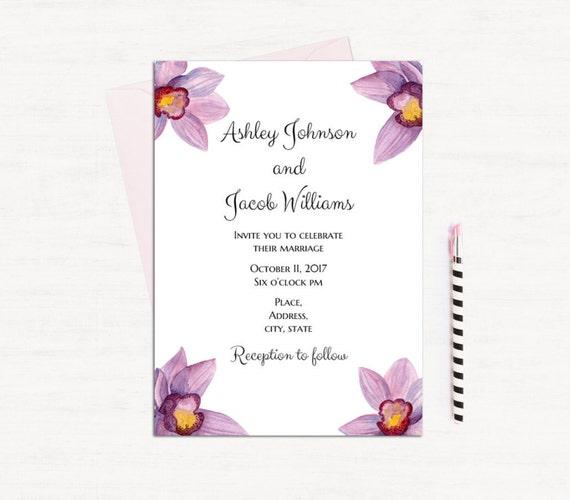 Hawaii wedding invitations printable Orchid wedding invitation