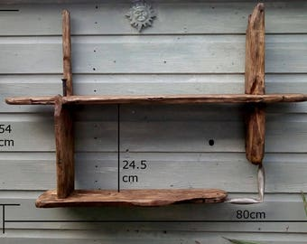 Rustic/ driftwood shelves in locally sourced,old recycled pine and driftwood with medium dark oak wax finish.