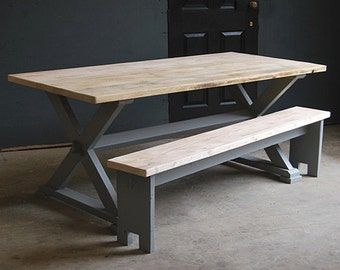 Vintage Kitchen or Dining X Frame Rustic Table made from Reclaimed Timber
