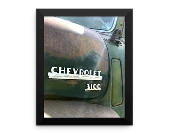 Framed Chevy Poster Old Truck Photo Print Green Patina On Retro Chevrolet Pickup Truck Gifts For Him
