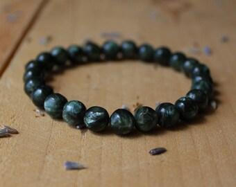 Seraphinite Bracelet Grade AA Meditation Bracelet Seraphinite Mala Yoga Bracelet Chakra Balancing Gemstone Beaded Stretch Bracelet Reiki