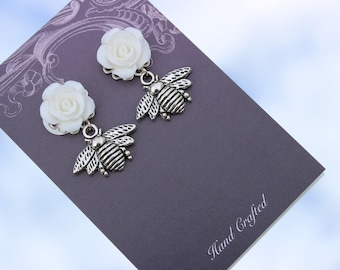 Bee Earrings, Honey Bees, Insect Earrings, Wasp, Hornet, Bugs, Bee Keeper Gift Idea, Holiday Wedding, Floral Wedding jewellery, Bridesmaids