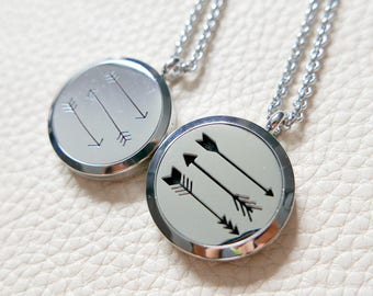 Arrows Essential Oil Diffuser Necklace/Stainless Steel Necklace/Aromatherapy Oil Necklace/Locket(20mm)