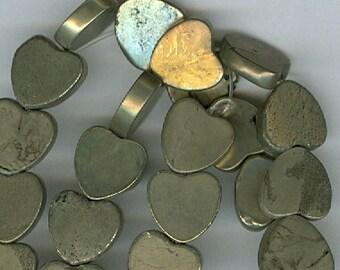 Gold Heart Beads, 10mm Gold Pyrite Heart Gemstone Flat Beads 16 inch Strand Gold Bead