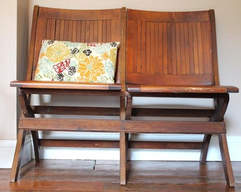 Have a Seat.  Vintage Wood Slat Folding Theater Bench