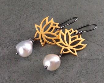 Akoya pearl earrings, handmade 22k gold vermeil, sterling silver lotus blossom saltwater pearl earrings-OOAK