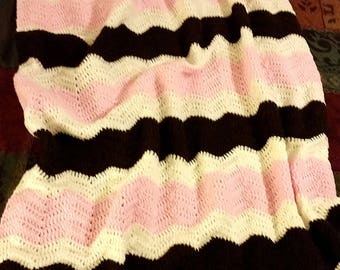 Pink and Brown Ripple Baby Blanket