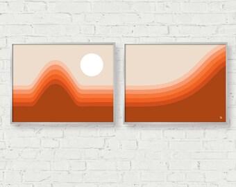 Mid Century Art Mid Century Modern Horizon Print Set, Set of 2, Giclee Print, 70s Sunset, Office Decor, Abstract Landscape, Wall Art Set