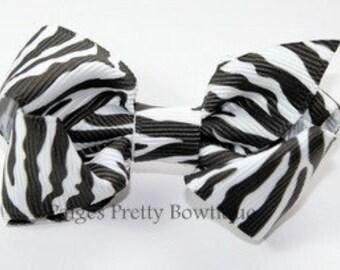 "2.25"" Zebra Print Boutique Hair Bow-Toddler Hair Bow-Baby Hair Bow-Alligator Clip"