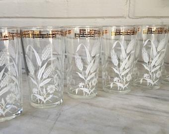 vintage wheat glasses, set of 6, gold trim, glass tumblers, retro water glasses, shabby chic glassware