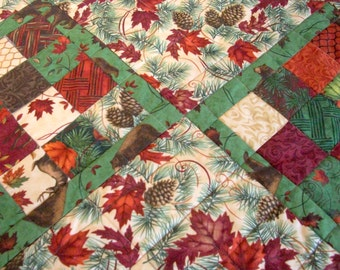 Fall Table Runner Quilt Autumn Quilted Turning Leaves Pine Cones Woodland Quiltsy Handmade FREE U.S. Shipping