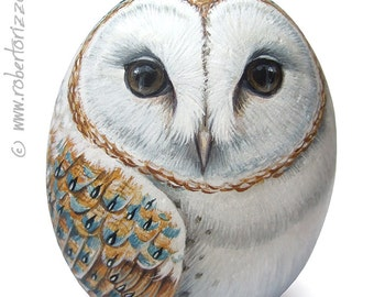 Original Hand Painted Barn Owl Rock