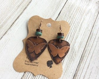 Etched Butterfly Earrings, Copper Etched Earrings