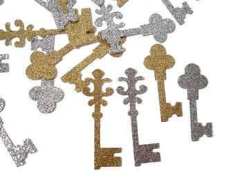 50 Alice in Wonderland Confetti, Glitter Vintage Keys Confetti, Key Party, Key Shaped Confetti - No1080