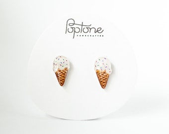 Ice Cream Earrings, Vanilla Ice Cream Jewelry, ice cream cone studs, food jewelry with sprinkles