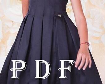 Dress PDF pattern  sizes 140 children's sewing pattern  Instant download digital pattern