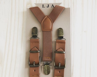 Groomsmen Brown Leather Suspenders Men Wedding Ring Bearer Outfit Rustic Wedding Men's Suspenders Boys Suspenders Brown Suspenders