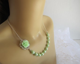 Mint Green Bridesmaid Necklace Rose Necklace Spring Wedding Bridal Party