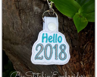 Hello 2018 ITH Snap Tab - 4x4 Embroidery Design - INSTANT DOWNLOAD
