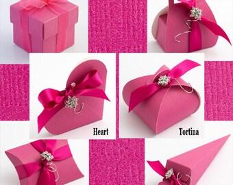Hot Pink Favour Boxes, Fuchsia Favour Boxes, Pink Wedding Favours, Pink Party Favours, Candy Favour Box, Pink Silk Box, Silk Favour Boxes