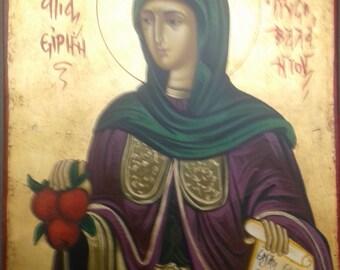 Saint Irene CHRISSOVALANTOU.hand painted icon.religious icon.gift.Saint icon.christian icons.catholic icons.16x20cm