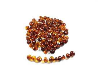10 natural Cognac Baltic amber baroque beads approximately 4 to 6mm LBP00513