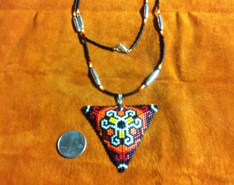 Beaded triangle pendant with necklace
