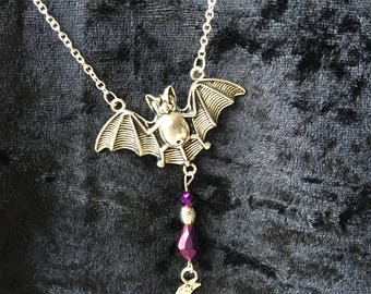 Bat Necklace, Gothic Pendant, Vampire Gift, Goth Gift, Halloween Jewellery, Bat Pendant, Moon and Stars, Alternative Gift, Bat Jewellery