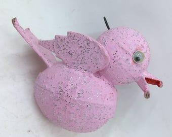 Vintage Paper Mache Glitter Bird Christmas Ornament Pink