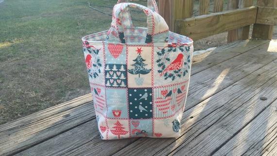 Christmas Tote Bag, Christmas Decor, Christmas Gift Bag, Christmas Gift Basket , Christmas Fabric Bowl , Winter decorations, Holiday Tot