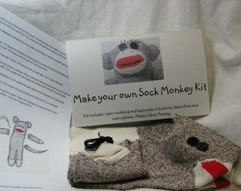 Make Your Own Sock Monkey Kit - Original Brown