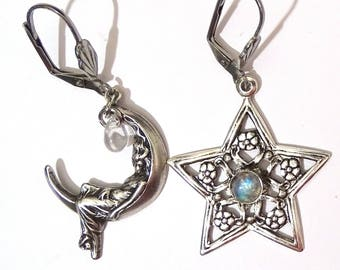 Star earrings with flower and cabochon white Moonstone labradorite Crescent Moon with woman and drop dew art