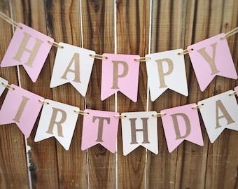 Pink Happy Birthday Banner, 1st Birthday Banner, Pink Girl Birthday